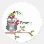 Owl gift label round sticker