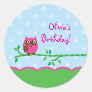 Owl Girl Favor Sticker