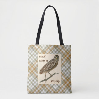 Owl Gold Green Plaid Skull Tote