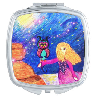 Owl Guardian compact mirror