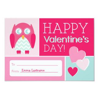 "Owl & Hearts Kids School / Classroom Valentine 3.5"" X 5"" Invitation Card"