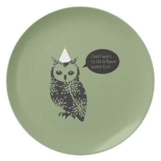 Owl I want to do is have some fun! Melamine plate