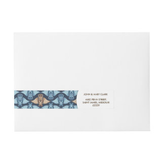 Owl illustration abstract tradition  pattern DIY Wraparound Address Label