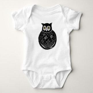 Owl illustration - black and white baby bodysuit