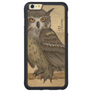 Owl Illustration Carved Maple iPhone 6 Plus Bumper Case