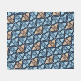 Owl illustration in abstract traditional pattern fleece blanket