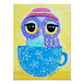 Owl In A Teacup Poster