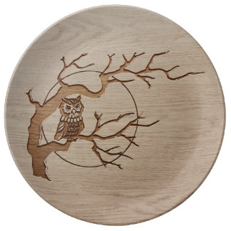 Owl in a tree engraved design plate