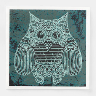 Owl in batik style Standard Dinner Paper Napkins