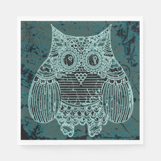 Owl in batik style Standard Luncheon Paper Napkins