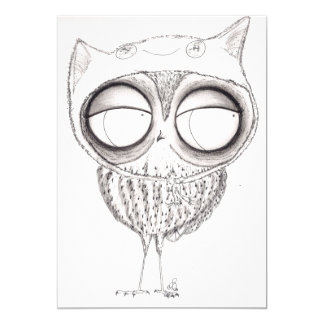 Owl in Cat Hat Card