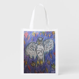 owl in fall grocery bag