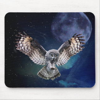 Owl in Flight Mouse Pad