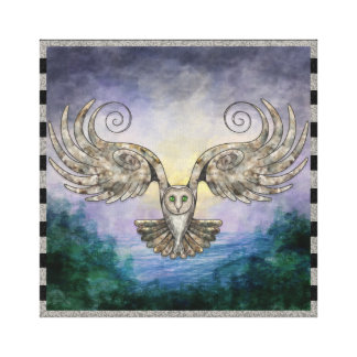 Owl In Flight Over Pine Forest At Dawn Canvas Print