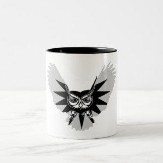 Owl in flight Two-Tone coffee mug