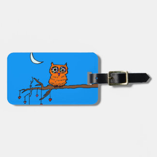 Owl in Heart Tree Luggage Tag