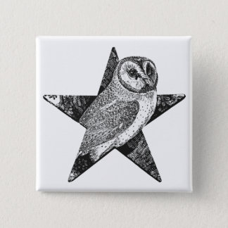 Owl in Pentagram Pentacle Wicca Pagan 2 Inch Square Button
