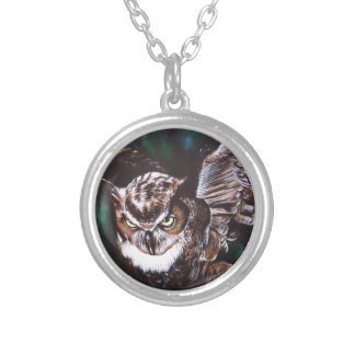 Owl in the night silver plated necklace
