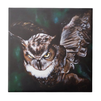 Owl in the night tile