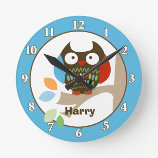 Owl in Tree Tops Personalized Wall Clock - Blue