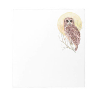 Owl in Tree with Moon Watercolor Bird, Animal Notepad
