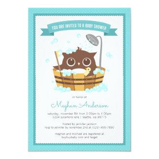 Owl in Wooden Bathtub Boy Baby Shower Invitation