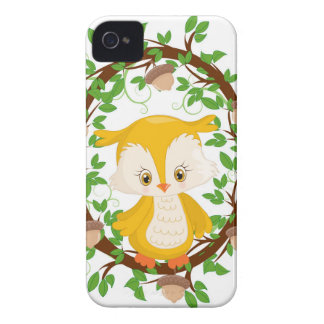 Owl  in wreath WOODLAND CRITTERS Case-Mate iPhone 4 Cases