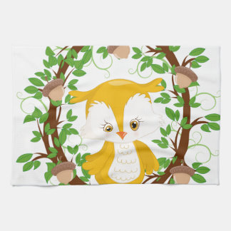 Owl  in wreath WOODLAND CRITTERS Hand Towel