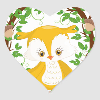 Owl  in wreath WOODLAND CRITTERS Heart Sticker