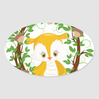 Owl  in wreath WOODLAND CRITTERS Oval Sticker