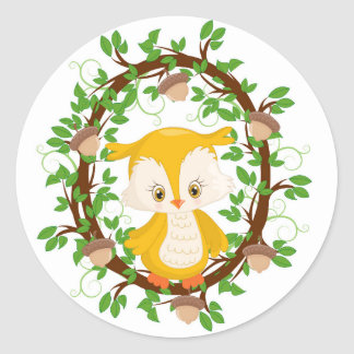 Owl  in wreath WOODLAND CRITTERS Round Sticker