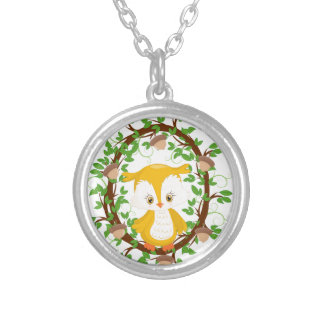 Owl  in wreath WOODLAND CRITTERS Silver Plated Necklace