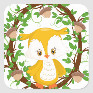 Owl  in wreath WOODLAND CRITTERS Square Sticker