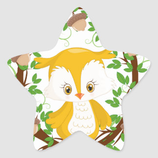 Owl  in wreath WOODLAND CRITTERS Star Sticker