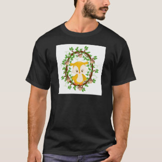 Owl  in wreath WOODLAND CRITTERS T-Shirt