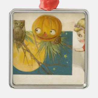 Owl Jack O Lantern Pumpkin Girl Doll Silver-Colored Square Ornament