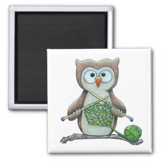 Owl Knitter Square Magnet