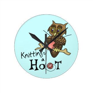 Owl Knitting Wall Clock