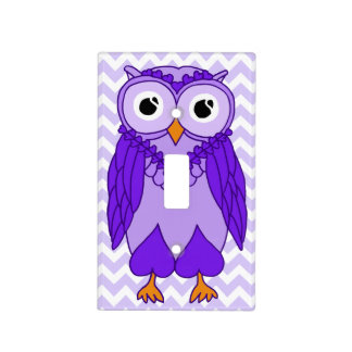 Owl Light Switch Cover: Purple Chevron Owl Light Switch Plate