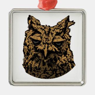 Owl Logo Metal Ornament