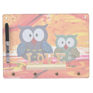 Owl love dry erase board with keychain holder