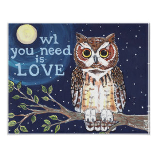 Owl Love Night Moon Poster Navy Branch Stars