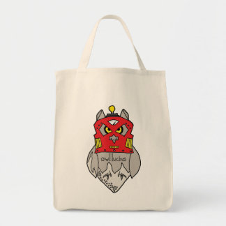 Owl Lucha Robot Grocery Tote