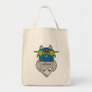 Owl Lucha Star Grocery Tote