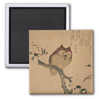 Owl & Magnolia: Japanese Ukiyo-e Magnet