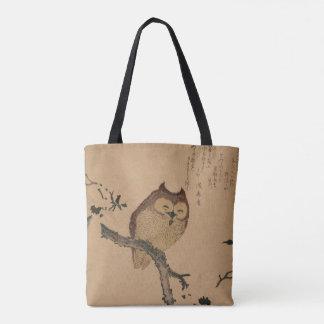 Owl & Magnolia: Japanese Ukiyo-e Tote