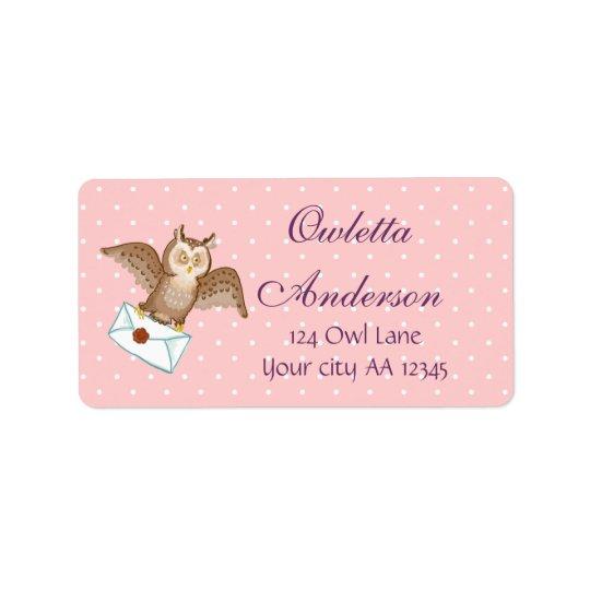 Owl mail address label