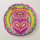 Owl Mandala Round Pillow - Colourful Cute Owl Art