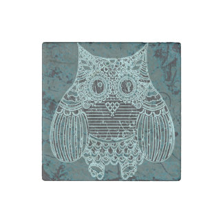 Owl Marble Stone Magnets, Individual Stone Magnets