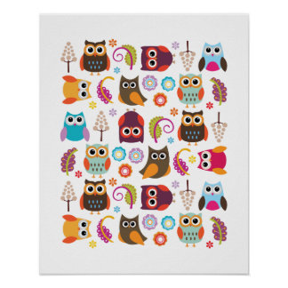 Owl Meeting Poster Print